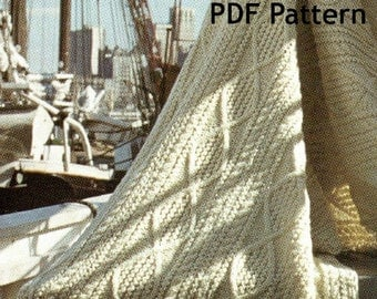 Fishermen Knit Afghan, Fair Isle Afghan. Blanket, Vintage 1972 Pattern, Snuggie, Kilkenny, Digital Download, Instant PDF