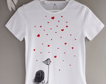Hand painted Women T-shirt with a girl with scoop-net and hearts, gift for her, love t-shirt, black white t-shirt, red hearts: Catching love