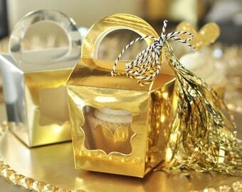Gold Gift Box - Gold Gift Bag - Silver Gift Box - Silver Gift Bag - Wedding Cupcake Box - Single Cupcake Boxes Candy Box (EB3060) set of 12