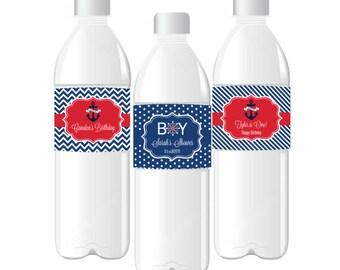 Nautical Water Bottle Labels Wrappers - Nautical Baby Shower Nautical Birthday Nautical Wedding Nautical 1st Birthday (EB2350BZ) -set of 24|
