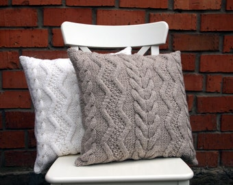 knit pillow cover etsy. Black Bedroom Furniture Sets. Home Design Ideas