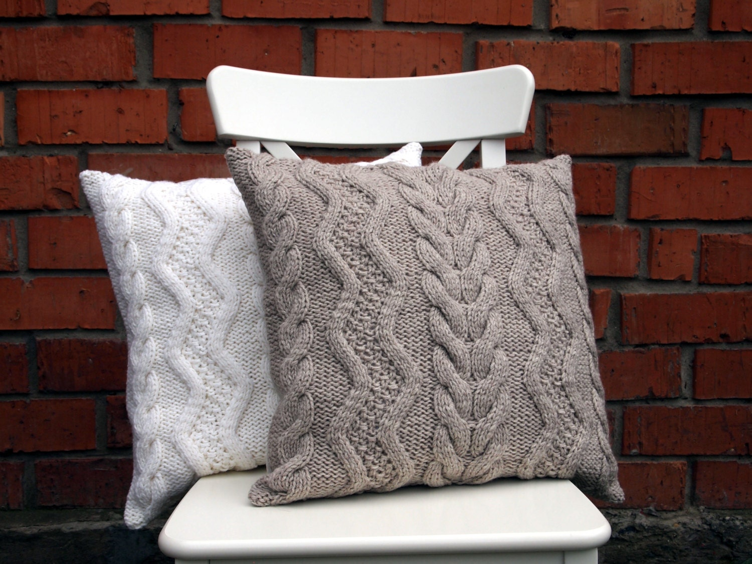 Knitting Pillows : Beige gray or off white cable knit pillow cover х inches