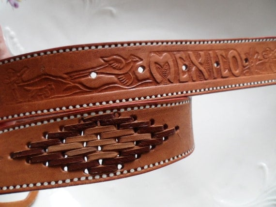 unique mexican leather belt 34 belt marked see