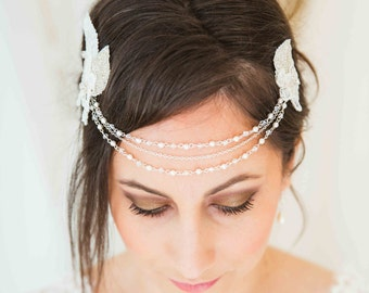 Front headband for wedding, lace and rhinestones