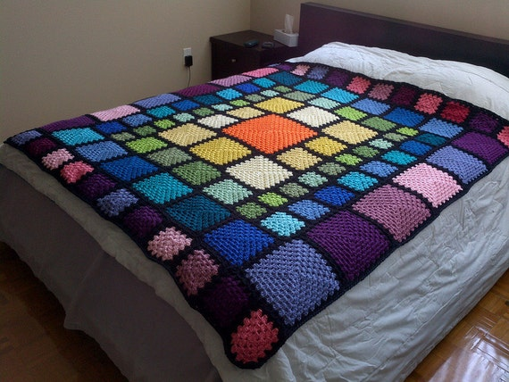 Crochet Patterns Queen Size Bed : Items similar to Queen Sized Stained Glass Rainbow Crochet ...