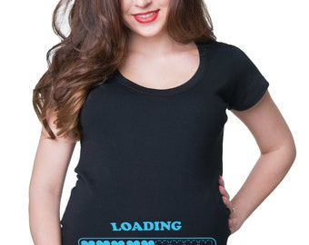 Baby Loading T-Shirt Gift For Pregnant Woman Birth Announcement Tee Shirt Future Mommy Shirt