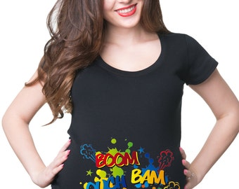 Baby Kicking Boom Ouch Knock Maternity T-Shirt Gift For Pregnant Woman Future Mommy T-Shirt