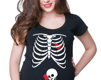 Skeleton Boxer T-Shirt Maternity Top Birth Announcement Halloween Costume Tee Shirt
