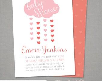 Valentine's Day Baby Shower Invitation - Rain Cloud  - Shower with Love - Digital File