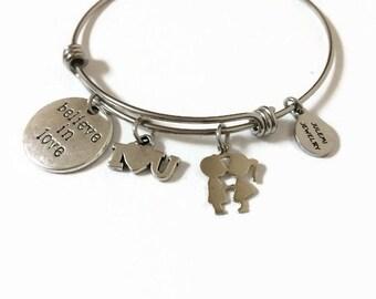 Boyfriend and Girlfriend Expandable Bracelet Kissing Boy and Girl Bracelet Girlfriend Couple Wire Bangle Charm Bangle Romantic Bracelet