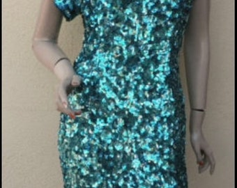 Spring/Summer Clearance Sale / DRESS Like a CELEBRITY For Less /  80s Sequins Beaded Open Back Silk Dress
