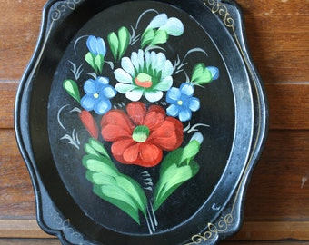 Vintage Plastic Tole Tray Floral Yeha 64