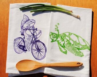 Cotton Tea Towel Set - Screen Printed Cotton - Flour Sack Material - Nautical Tea Towels - Perfect Wedding Shower Gift