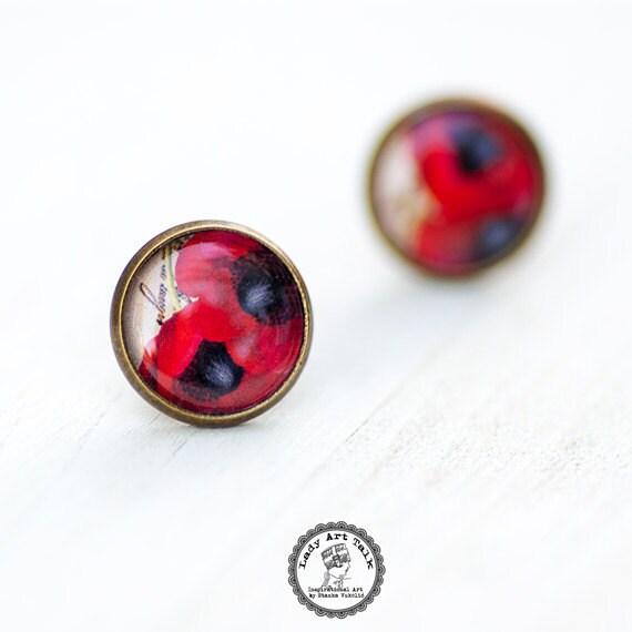 poppy stud earrings vintage earrings photo jewelry post
