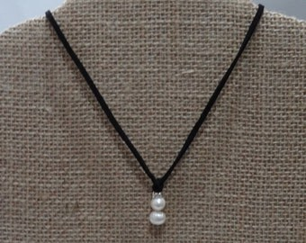 Handmade Freshwater Pearl Leather Necklace, Black Leather Necklace