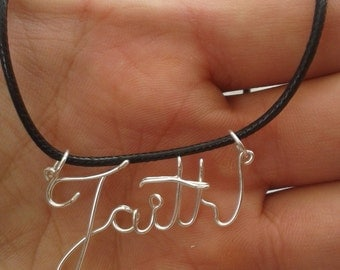 Wire Name Necklace On Fleather Personalized Nameplate Silver Up to 10 Letters Wire Word Jewelry Wire Wrapped Girls Affection Gifts Under 10