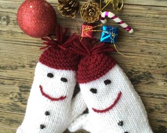 Snowman Mittens White Burgundy Mittens Handknit Gloves Handwarmer Armwarmer Winter Fashion, Nicknacky