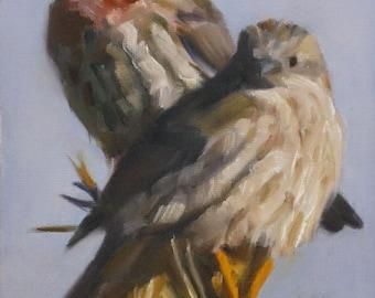 Bird art - lovebirds - oil painting - original painting - Pamela Poll