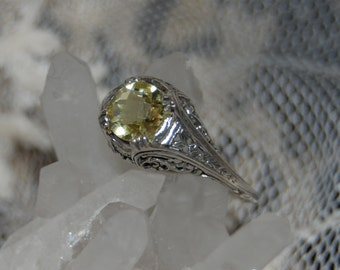 Vintage Art Deco Light Yellow Citrine 925 Sterling Lattice Filigree Anniversary Wedding Solitare #BKC-RNG51