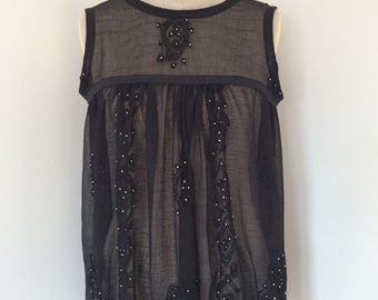 Black Sheer Blouse with Beading & Embroidery Detail