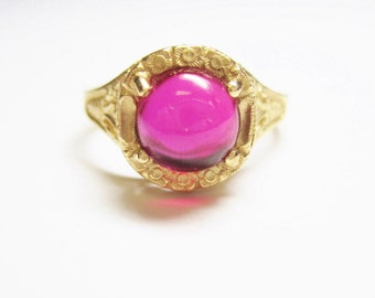 Vintage 14K Filigree Ruby Cabochon Ring Size 7