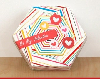 Printable Gift Box with Free Gift Stickers - Gift Box Template - Valentine's Day Gift Box - Red Gift Box - DIY Gift Box (Instant Download)