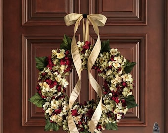 Wreaths | Hand Blended Hydrangea Wreath | Front Door Wreaths | Outdoor Wreath | Summer Wreath | Fall Wreath |Housewarming Gift