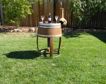 Handcrafted Reclaimed Sonoma County Wine Barrel Cocktail Table- Custom Cut Full Wine Barrel Table Indoor or Outdoor