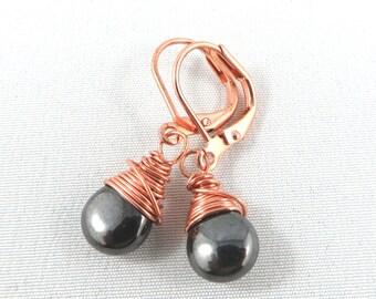 Drops of Hematite wrapped in Copper.  Lever back. Tear Drop Earrings.  Wire Wrapped. JemstoneZ. Jem StoneZ Earrings.