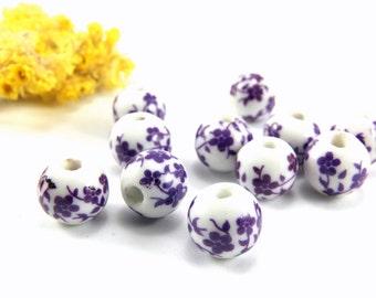 Purple Ceramic Beads, 12mm Round Handmade Ceramic Floral Beads, Lampwork Porcelain Beads, Handpainted Ceramic Bead, Handmade Ceramic Bead