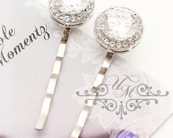 Wedding hair accessories Bridal hair pins Bridesmaids hair pins Wedding Headpiece Zirconia Crystal Rhinestone Hair pins Bobby pins - MACEY