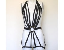 Freya Leather Bodysuit, Strappy Leather Bodysuit, Black Cage Romper, Sexy Teddy Lingerie, BDSM fetish bondage suit, Dominatrix, Gothic
