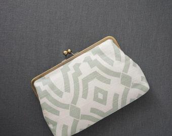 SALE | Oversized Clutch / Geometric Clutch / Coral Mint & White Clutch {Marni Clutch: Zoey}