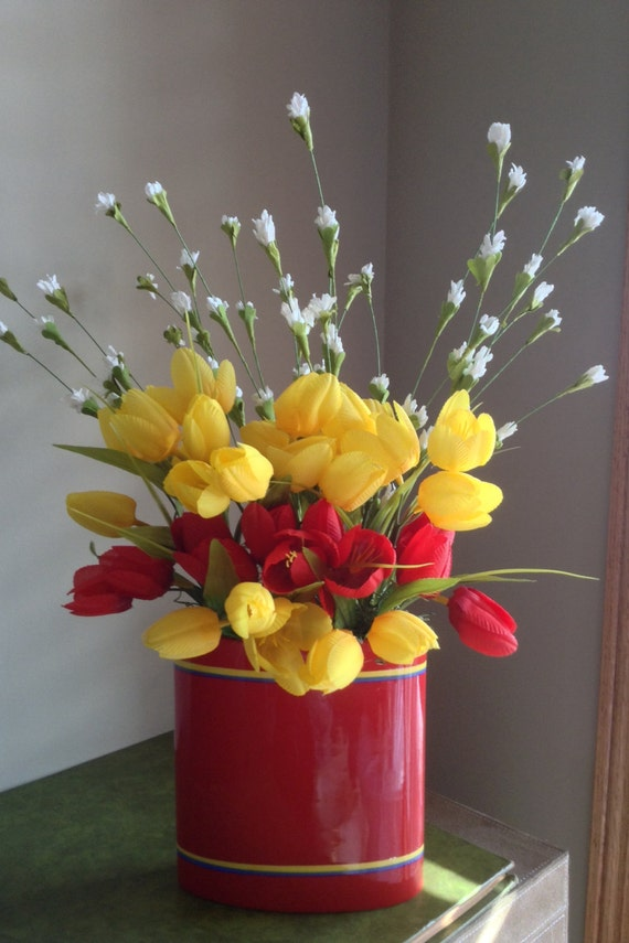 Red Tulips Yellow Tulips Silk Flower by NauticoCreations on Etsy