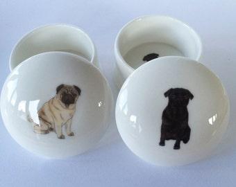 Small Pug Trinket Box