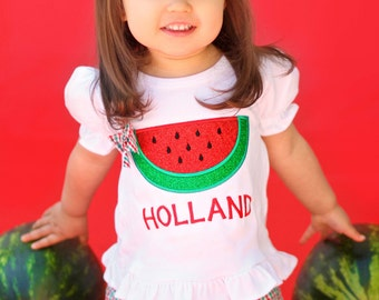 Girl Watermelon Shirt with Glitter Watermelon and Embroidered Name