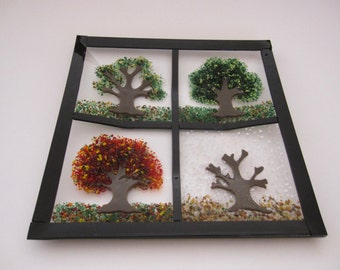 Seasonal Fused Glass Plate - Spring, Summer, Fall, Winter