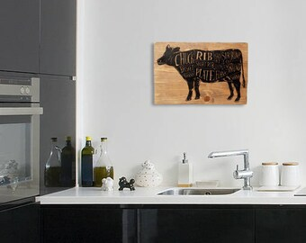 "Butcher Chart Kitchen Wall Art  Beef Diagram Sign on Distressed Solid Wood - 17"" x 11"""