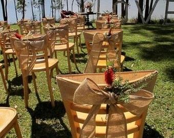Chair Sashes - Burlap Chair Sash - Wedding Chair Sash - Chair Swag - Chair Decor - Pew End Decor - Hessian Chair Sash - Set of 12