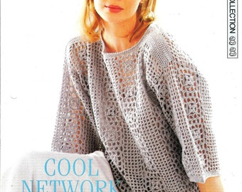 "Crochet pattern - Woman's ""Cool Network"" vest  top - Instant download"