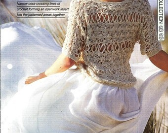 "Mix crochet and knitting pattern - Woman's top ""Cool Fantasy"" - Instant download"