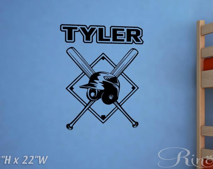 Baseball bat and helmet Custom name Wall art DECAL - Vinyl sticker home kids bedroom nursery decor
