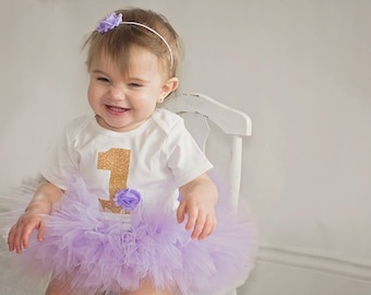 Lavender and Gold Baby Girl's First Birthday Outfit - Shabby Chic Bodysuit, Tutu and Headband -  Light Purple and Gold 1