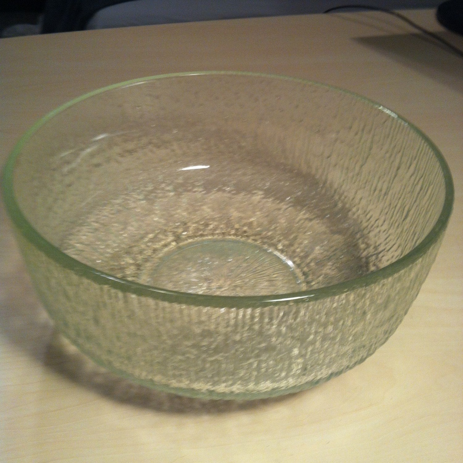 Vintage Clear Tree Bark Carnival Glass Clear Serving Bowl
