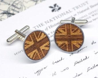 Union Jack Cufflinks, Wooden Union Jack Cufflinks, British Flag Cufflinks, UK Cufflinks, Winston Churchill Cufflinks, UK Souvenir