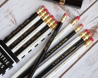 Classy and Fabulous, Coco Chanel Pencils, Set of 6, Monochrome pencils