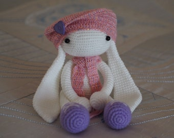 children rabbit toy, amigurumi crochet doll, stuffed toys,eco friendly, present for kids, white pink