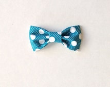 Turquoise/Light Teal & White Dot on Dots - Bow Tie Hair Clip or Clip On Bow Tie: Perfect for girls or boys! Polka Dot Heaven!