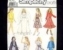Simplicity Barbie Pattern 8333 Wedding Gown Cloak Uncut 1987