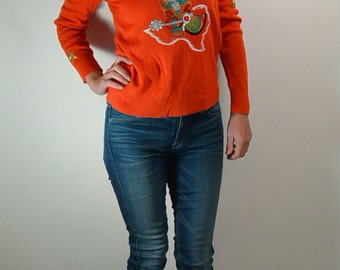 Tangerine Orange 70s Sweater// Southwestern Sweater// Texas Sweater (F1)